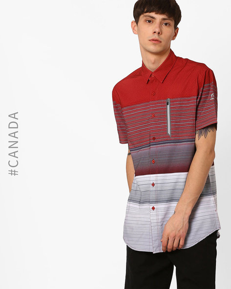 Striped Shirt With Zipper Insert By Point Zero ( Cherry )