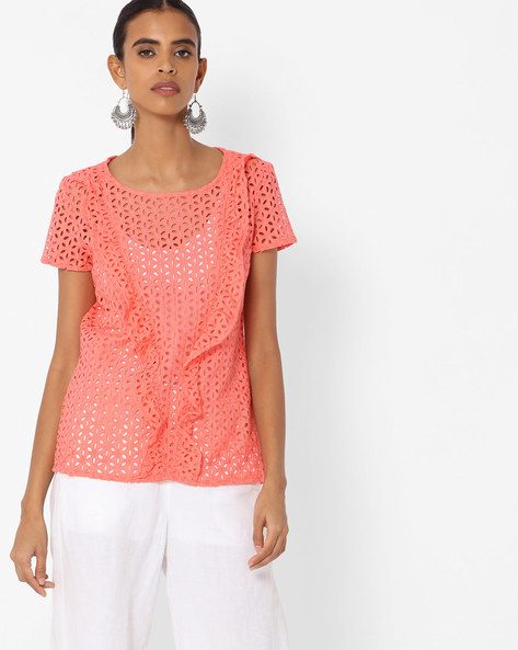 Floral Lace Top With Ruffles By Vero Moda ( Peach )