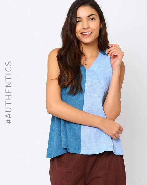 Sleeveless Khadi Top By Red Sister Blue ( Blue )