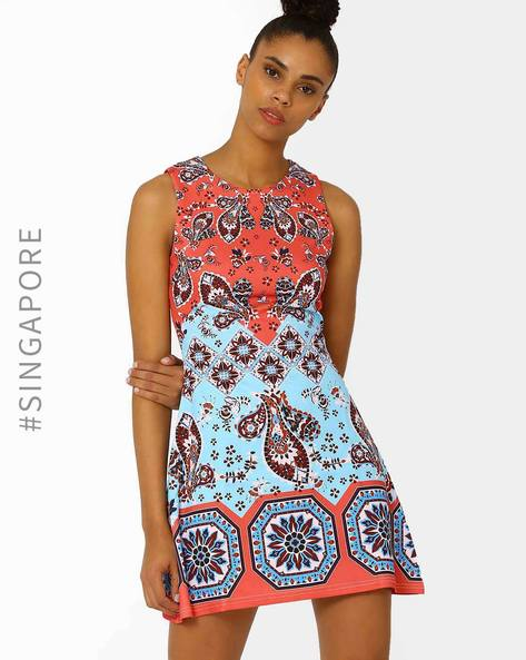 Floral Print A-Line Dress By MDS ( Multi )