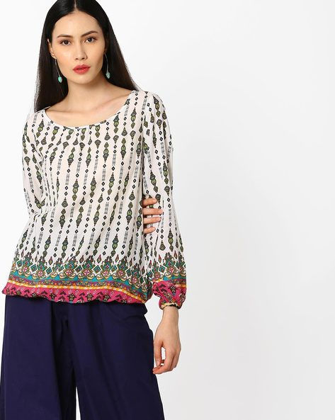 Printed Top With Bubble Hem By Juniper ( Assorted )