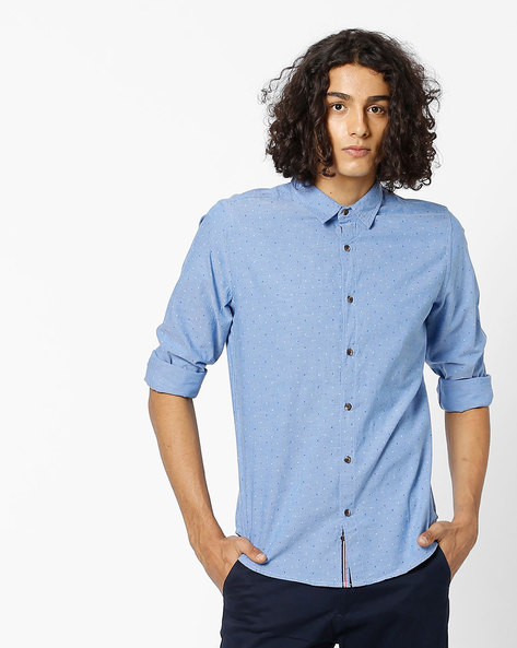 Slim Fit Printed Cotton Shirt By UNITED COLORS OF BENETTON ( Blue )