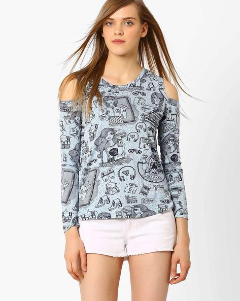 Doodle Print Cold-Shoulder Top By AJIO ( Blue )