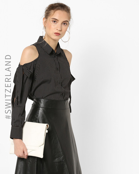 Striped Shirt With Cold-Shoulder Sleeves By TALLY WEiJL ( Black )