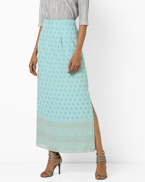 Printed Maxi Skirt With Slit By AJIO ( Lightblue )