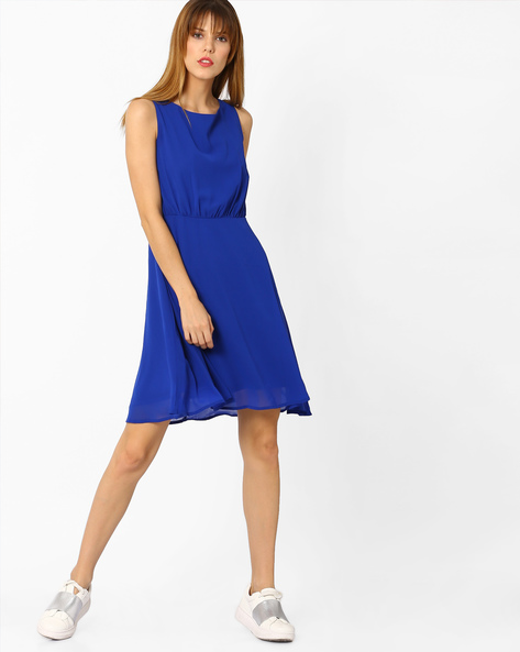Sleeveless Dress With Tie-Up By AJIO ( Blue )