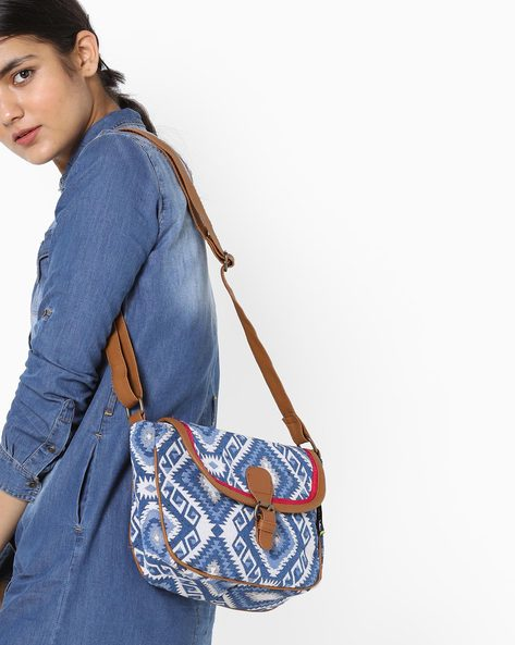 Jacquard Canvas Sling Bag By Kanvas Katha ( Blue )
