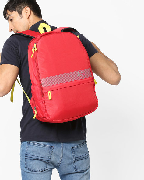 Printed Laptop Backpack By UNITED COLORS OF BENETTON ( Red )