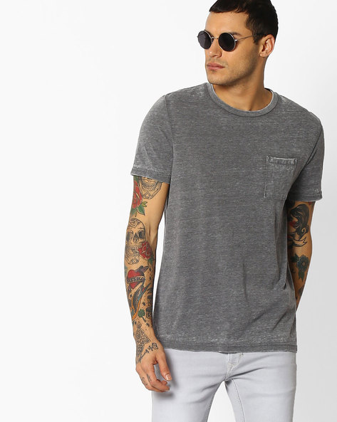 Crew-Neck T-shirt With Patch Pocket By Celio ( Grey )