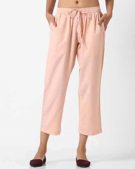 Palazzo Pants With Elasticated Drawstring Waistband By Project Eve IW Casual ( Peach )