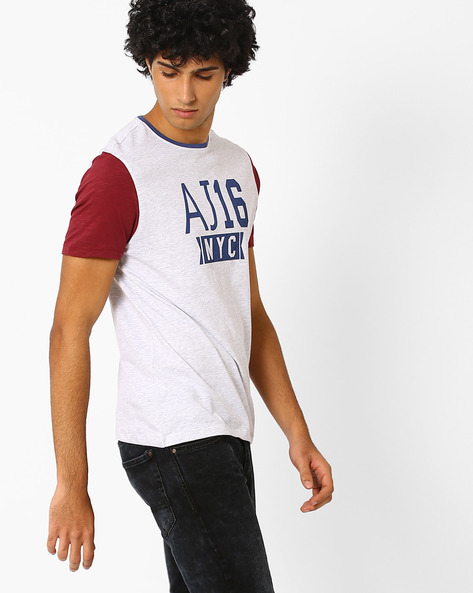 Slim Fit Graphic Print Summer T-shirt By AJIO ( Greymelange )