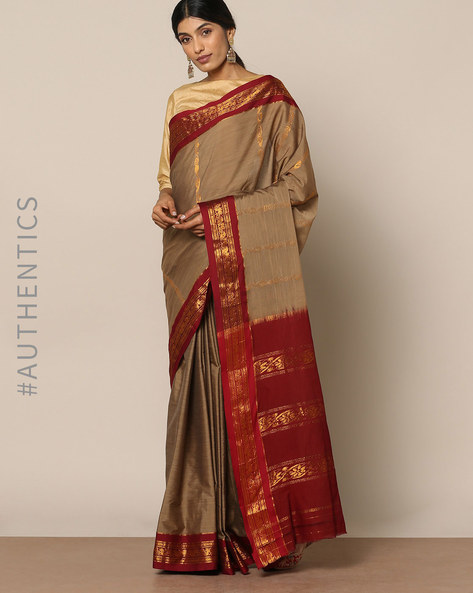 South Cotton Silk Saree With Rich Pallu By Indie Picks ( Brown )