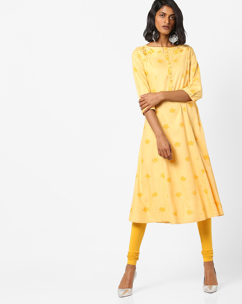 Printed A-line Kurta With Floral Embroidery By AJIO ( Yellow )