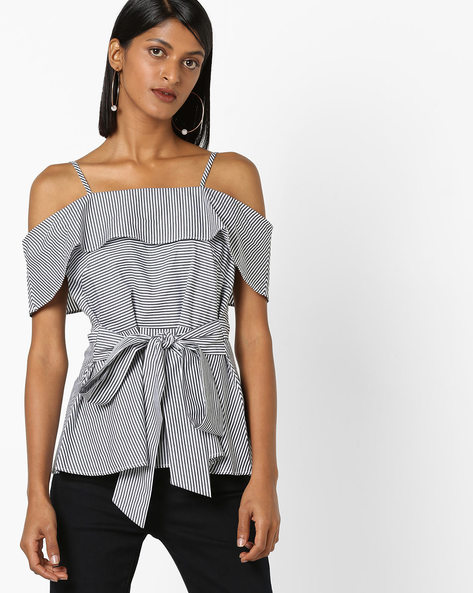 Striped Strappy Top By 20Dresses ( Black )