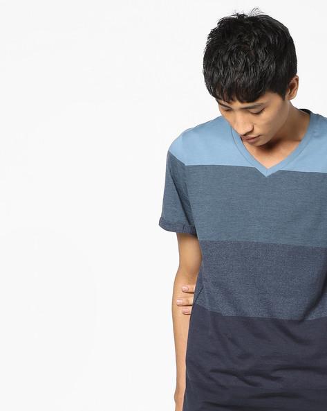 Striped Slim Fit V-neck T-shirt By Jack & Jones ( Blue )