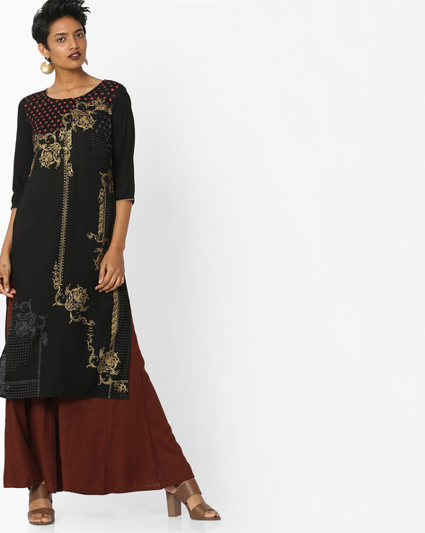 Printed Round-Neck Kurta By AURELIA ( Black )