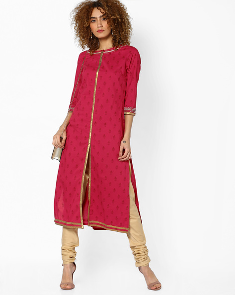 Printed Front-Open Straight Kurta By AJIO ( Red )