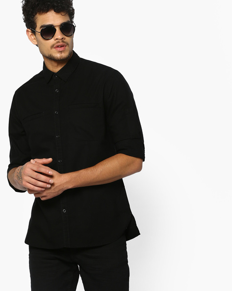 Slim Fit Shirt With Welt Pockets By AJIO ( Black )