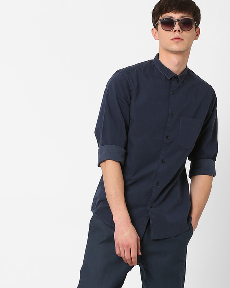 Slim Fit Shirt With Patch Pocket By AJIO ( Navy )