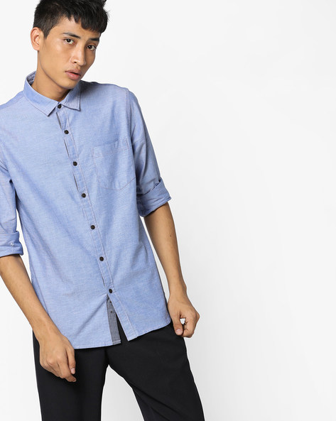 Classic Shirt With Patch Pocket By AJIO ( Blue )