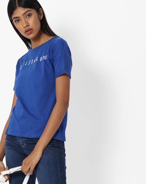 T-shirt With Drop-Shoulders By Blue Saint ( Blue )