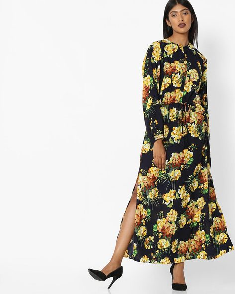 Floral Print Maxi Dress With Side Slits By Tokyo Talkies ( Darkblue )