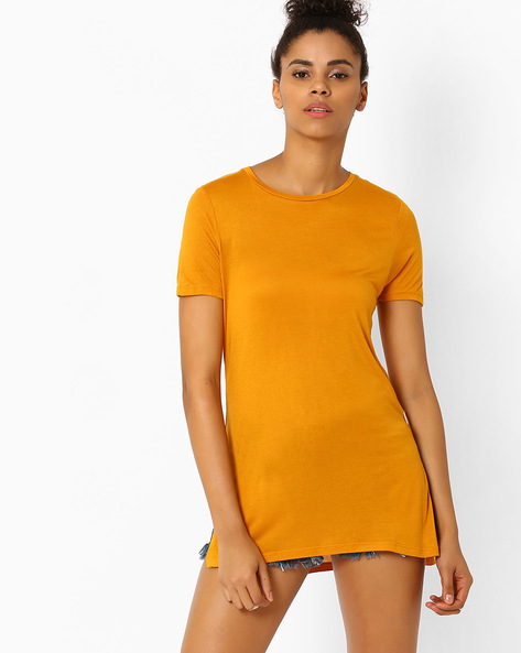 High-Low T-shirt With Slits By Lee ( Brown )
