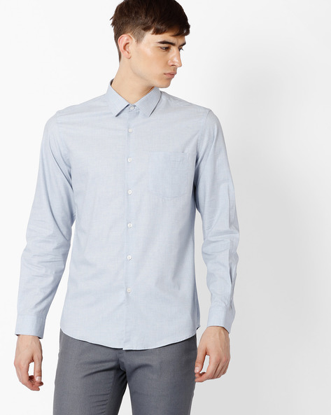 Slim Fit Cotton Shirt By Black Coffee ( Lightblue )
