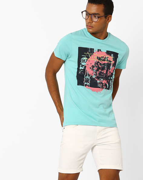 Slim Fit Graphic Print T-shirt By Jack & Jones ( Blue )