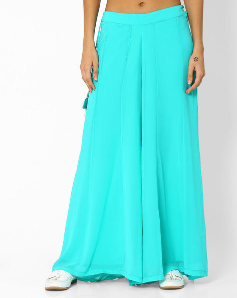 Pleated Palazzo Pants By AJIO ( Lightblue )