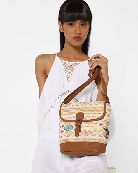 Jacquard Sling Bag By Kanvas Katha ( Tan ) - 460124232001