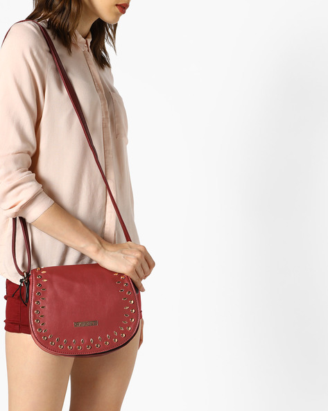 Sling Bag With Embellished Flap By CAPRESE ( Wine )