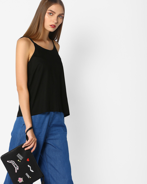 Strappy Rayon Top By AJIO ( Black )