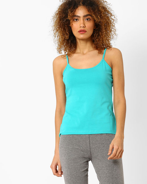 Knitted Spaghetti Top By AJIO ( Teal )