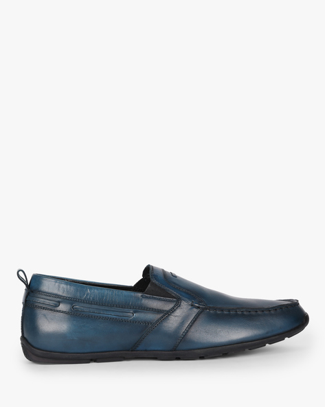 Genuine Leather Slip-On Casual Shoes By Buckle Up ( Darkbrown )