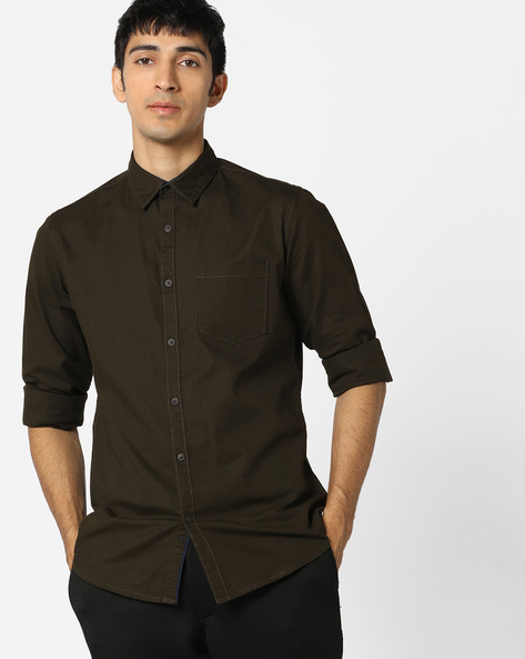 Classic Shirt With Patch Pocket By AJIO ( Olive )