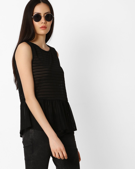 Striped Peplum-Style Top By Vero Moda ( Black )