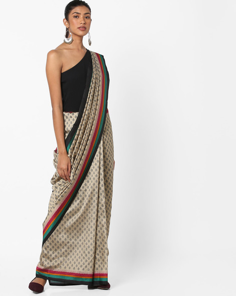 Floral Print Saree With Contrast Border By Florence ( Beige )