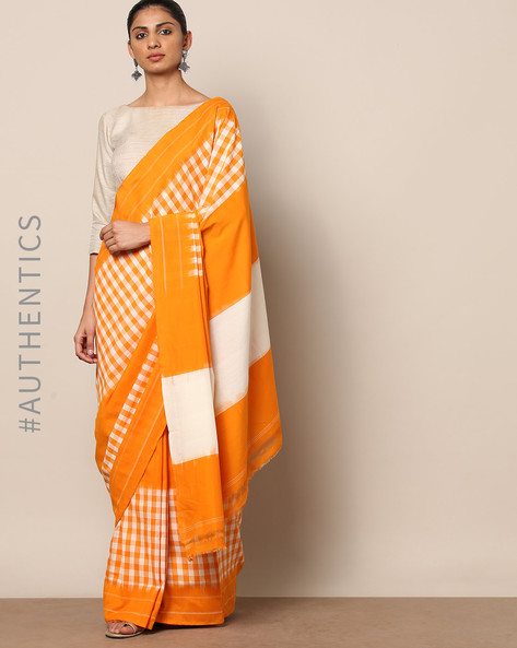 Handloom Pochampally Woven Ikat Checked Cotton Saree By Indie Picks ( Yellow )