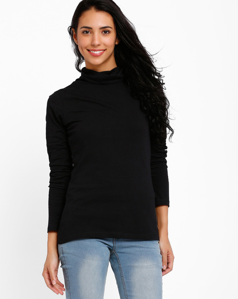Turtle Neck Top By Style Quotient By Noi ( Black )