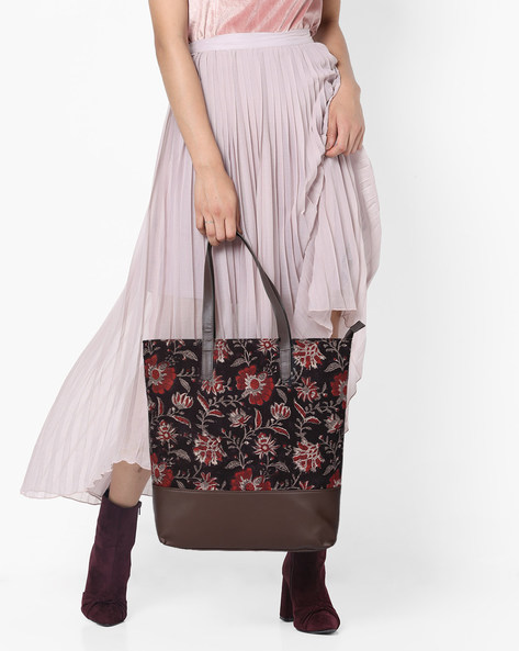 Floral Print Panelled Tote Bag By Project Eve ( Multi )