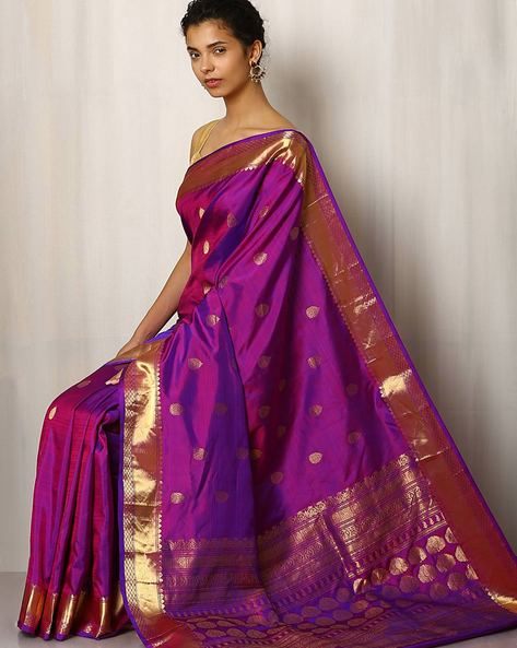 Handwoven Buti Pure Silk Saree With Zari Border By Rudrakaashe-MSU ( Purple )