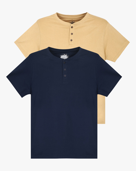 Pack Of 2 Henley T-shirts By AJIO ( Assorted ) - 460043957001