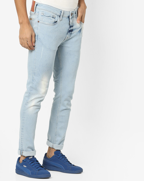 Super Slim Fit Distressed Jeans By ED HARDY ( Blue ) - 460155604001