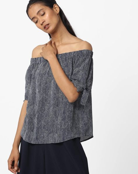 Striped Off-Shoulder Top With Tie-Up Sleeves By Ginger By Lifestyle ( Blue )