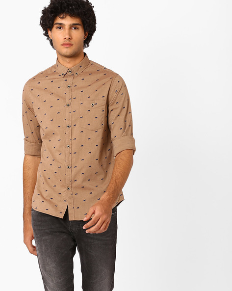 Printed Slim Fit Shirt With Button-Down Collar By AJIO ( Brown )