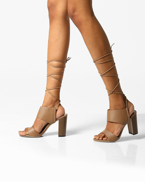 Stack Heeled Tie-Up Sandals By MFT Couture ( Khaki )