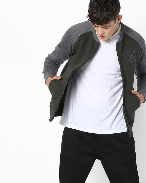 AJIO MEN SWEATSHIRTS & HOODIES, OLIVE, S By AJIO ( Olive )