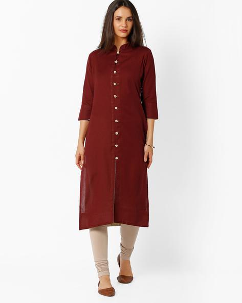 Straight Kurta With Mandarin Collar By BE INDI ( Assorted ) - 440724572004