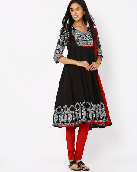 Anarkali Churidar With Dupatta By AVAASA SET ( Black )